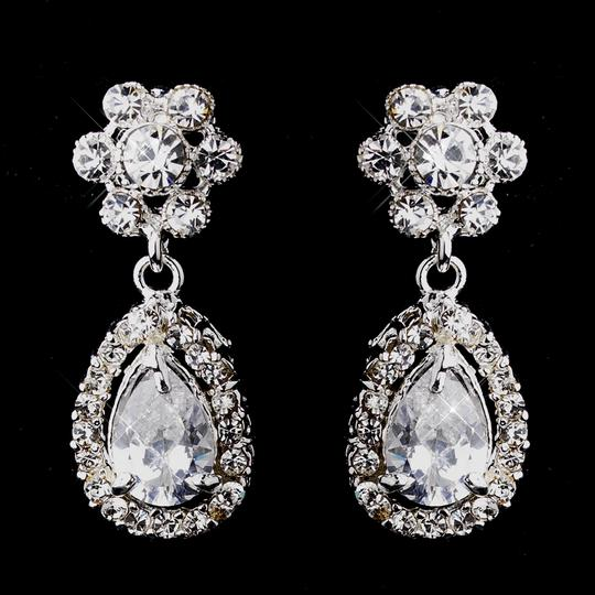 Delightful Silver Cubic Zirconia Floral Earrings
