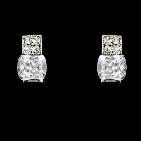 Silver Elegant Cubic Zirconia Stud Earrings