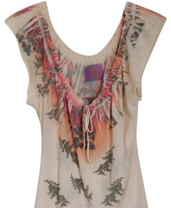 Butterfly Dropout T Shirt Cream Multi