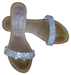 Dollhouse Rhinestoned Leather Silver Sandals