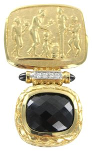 14K KARAT SOLID GOLD 10.8 GRAMS 4 DIAMOND ONYX SACRED FAITH HONOR PROTECTION