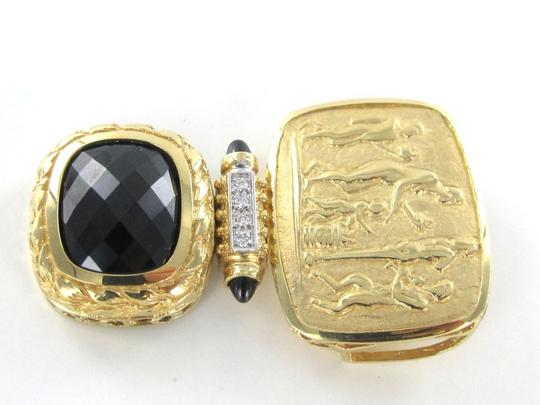 Other 14K KARAT SOLID GOLD 10.8 GRAMS 4 DIAMOND ONYX SACRED FAITH HONOR PROTECTION