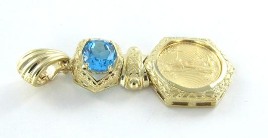 Other STUNNING 24KT LIBERTY GOLD COIN IN A 14KT SOLID GOLD FRAME WITH A BLUE TOPAZ PENDANT