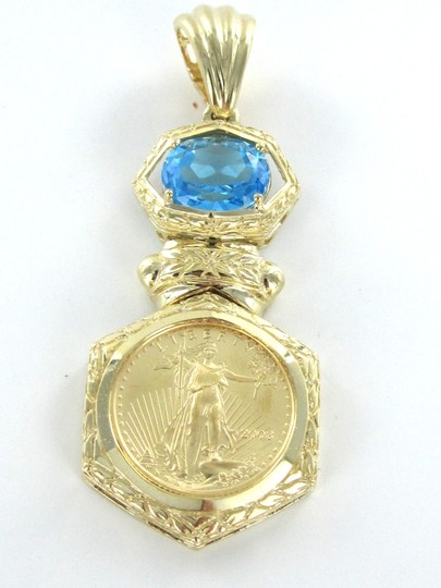 Other 24KT LIBERTY GOLD COIN IN 14KT SOLID GOLD FRAME BLUE TOPAZ PENDANT