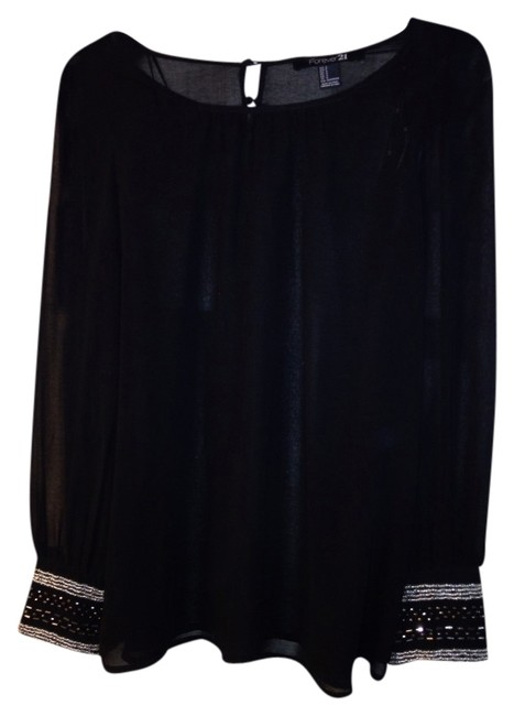 Forever 21 Embellished Top Black