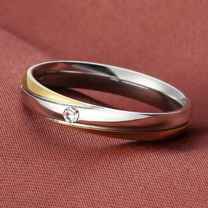 Ladies 2 Tone Crystal Steel Wedding Band Free Shipping