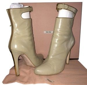Miu Miu Leather Midcalf Hip Cappuccino Boots