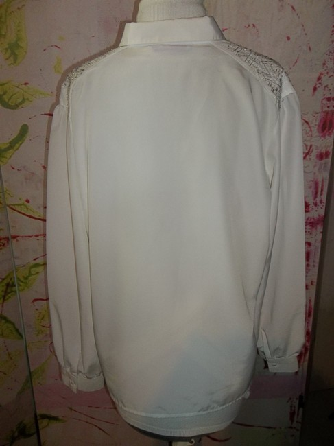 Laura & Jayne Longsleeve Beaded Accents Large Buttondown Top White