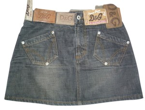 Dolce & Gabbana Jean Denim Mini Small Mini Skirt Blue Denim