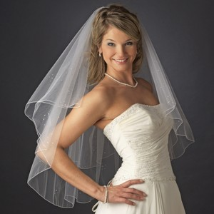 Elegance By Carbonneau Beaded Fingertip Two Layer Wedding Veil