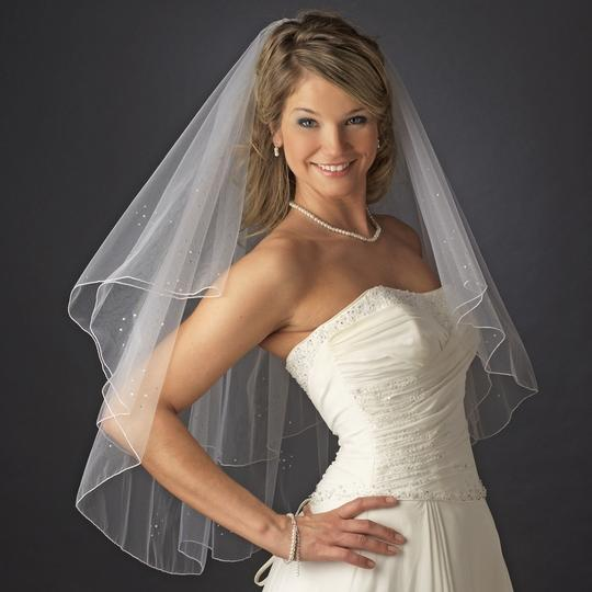 Elegance by Carbonneau White Or Ivory Medium Beaded Fingertip Two Layer Bridal Veil