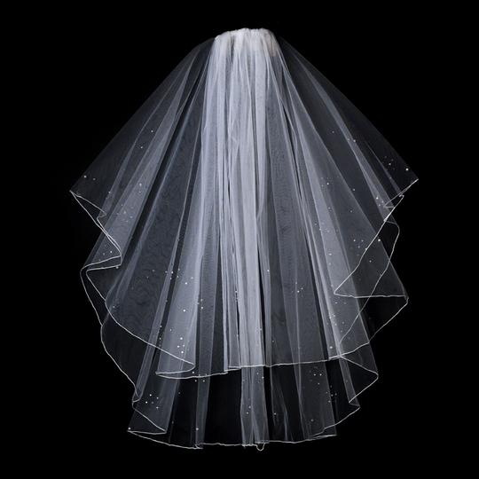 Elegance by Carbonneau White Or Ivory Medium Beaded Fingertip Two Layer Bridal Veils