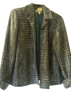 Coldwater Creek Swing Gray, black and teal tweed Blazer