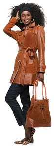 Leather Suede Trench Coat Tan Jacket