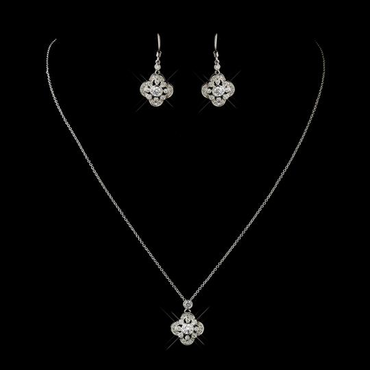 Elegance By Carbonneau Antique Silver Vintage Inspired Cz Wedding Jewelry Set