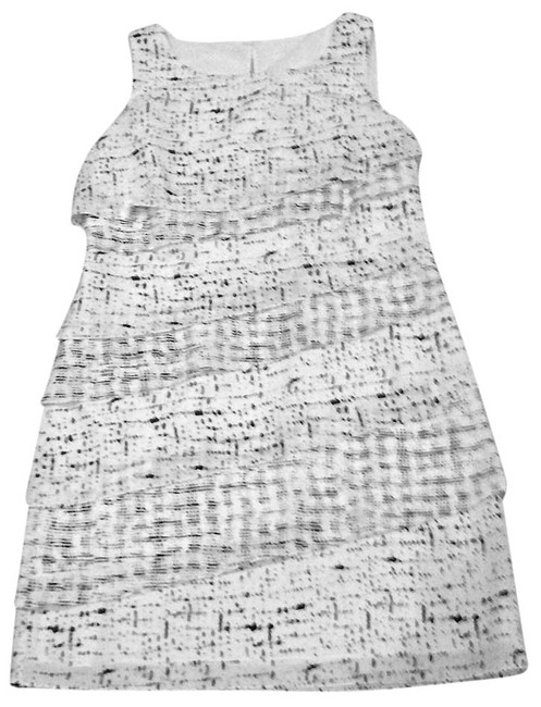 Ann Taylor short dress White with black Sleeveless Comfortable Silk Spring Holiday on Tradesy