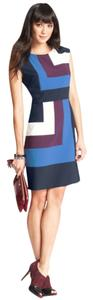 Ann Taylor short dress Blue, Maroon, White Bold Color-blocking on Tradesy