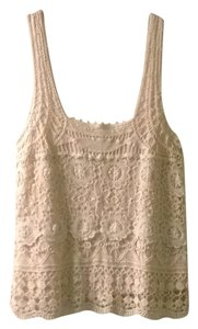 Pins and Needles Urban Outfitters Lace Embroidered Top Cream