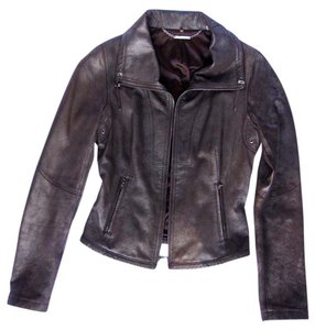 Elie Tahari Leather Coffee (slight pearl/metallic finish) Leather Jacket