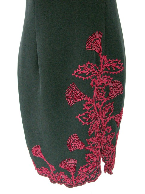 Maggy London short dress Black Oriental Red Embroidery Floral Evening on Tradesy