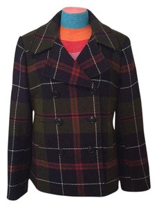 J.Crew Warm Winter Fall Silk Wool Plaid Pea Coat
