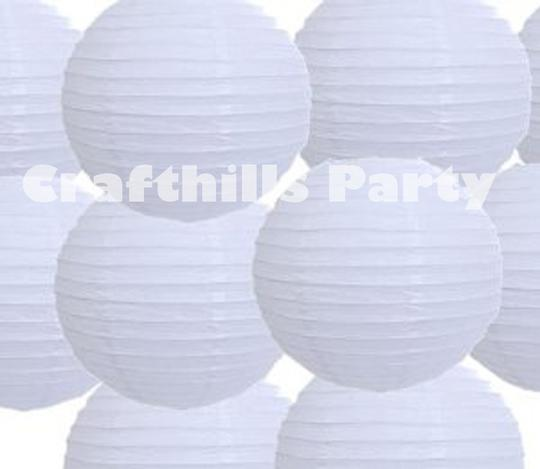 "White 30 Pcs Of 10"" Chinese Round Paper Lanterns For Floral Centerpiece Party Decoration Supplies"