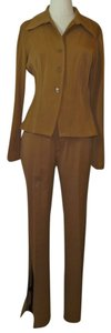 Vertigo Vertigo Brown/Tan Two Piece Blazer & Pants Suit Set Size Large