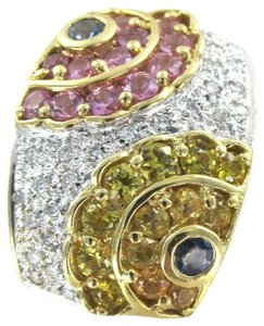 Other 14K KARAT SOLID YELLOW GOLD 24 DIAMONDS MULTI COLOR 0.36 CARAT SLIDE PENDANT