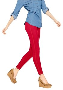 Denim Jeggings Stretch Red Leggings