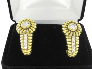 Victoria's Secret 18KT SOLID YELLOW GOLD EARRINGS 12 DIAMOND 1.40 CARAT ANTIQUE VINTAGE VICTORIA