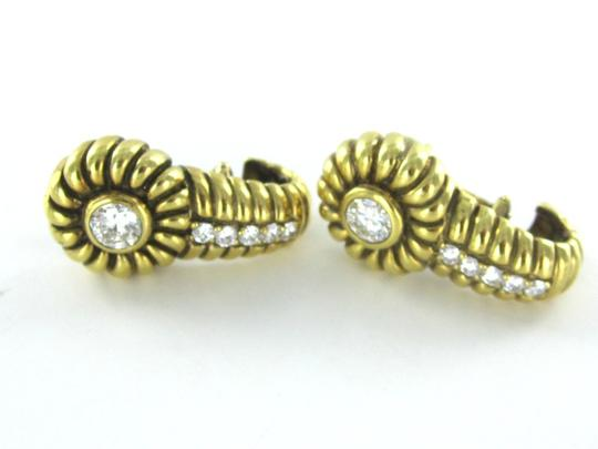 Victoria 18KT SOLID YELLOW GOLD EARRINGS 12 DIAMOND 1.40 CARAT ANTIQUE VINTAGE VICTORIA