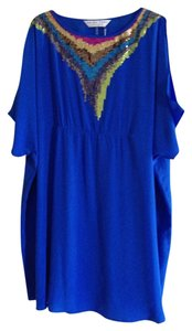Trina Turk short dress Blue Silk Embellished Chic on Tradesy