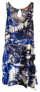 Cynthia Steffe short dress blue/ grey/ivory Silk Print Tiered on Tradesy