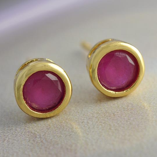Gold Ruby Stud Free Shipping Earrings