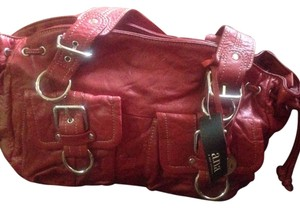 Ana wrinkled leather Red Clutch