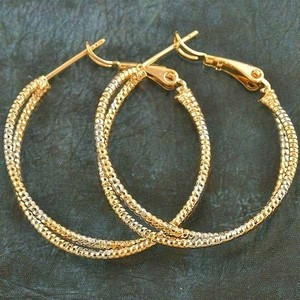 Silver/Gold Bogo Free Two Tone Large Hoop Er Free Shipping Earrings