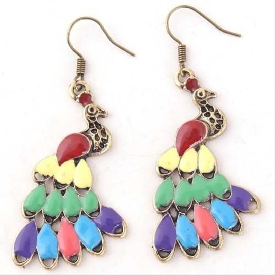 Colorful Peacock Earrings Free Shipping