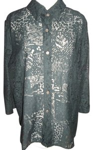 Lace Sheer Cover Up Button Down Shirt Black