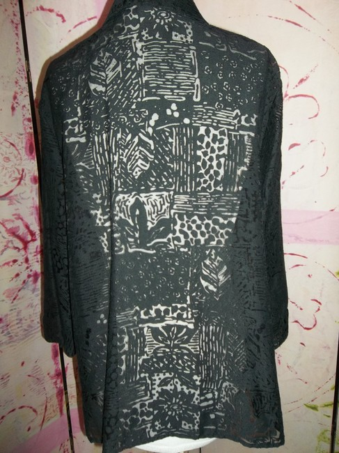 Other Lace Sheer Cover Up 3/4 Sleeve Button Down Shirt Black