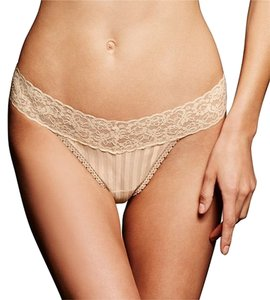 Maidenform 2 Pairs Maidenform Thong Panty 40118/LLS Lace Trim Stripe One Size Ivory $19