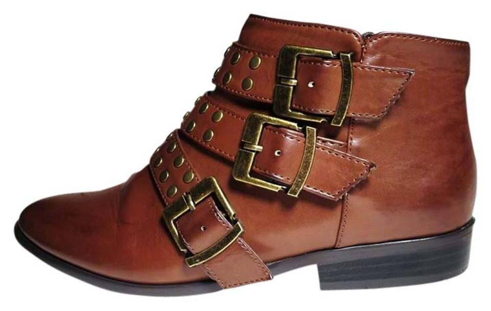 Forever 21 Cognac Brown Ankle Studded Ankle Brown Boots/Booties 000499