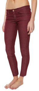 Quiksilver Qsw Burgundy Echobeats Acidwash Tight Red Fitted Snug Soft New Comfortable Capri/Cropped Denim