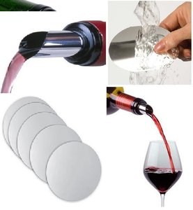 Chrome Lot Of 500x Reusable Foil Pourer Disc Wine Pourer Pour Red White Whisky Air Aerator Perfect Party Wedding Gift