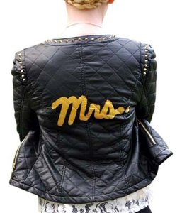Handmade Rockabilly Bride Studded Quilted Black And Gold Jacket