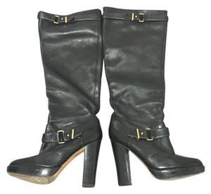 Coach Pebbled Leather Black Boots