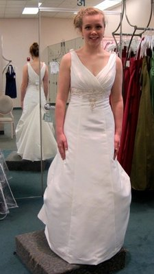 David's Bridal Satin A-line Tank With Ruched V-neck And Beaded Em Wedding Dress