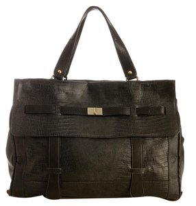 Be&D Leather Lambskin Lizard Satchel in Black
