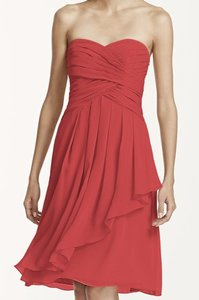 David's Bridal Guava Short Crinkle Chiffon Dress With Front Cascade Dress