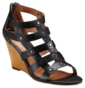 Corso Como Leather Wedge Sandal Black Wedges