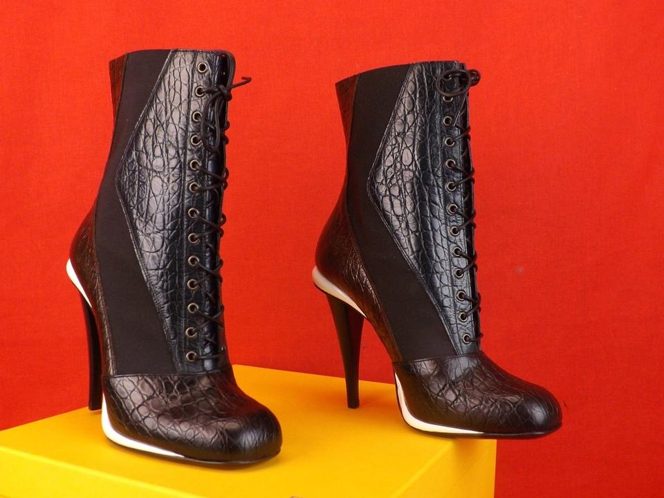 Victorian Ankle Multicolor Booties Boots Up Brown Black Lace Print Croco Navy Fendi Yq1Uw